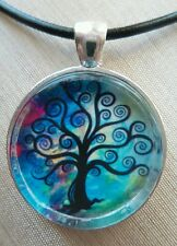 TREE OF LIFE & SEA COLORS. Glass Pendant with Leather Necklace