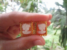 Cameo Yellow Gold Clip Earrings 18K sep013