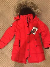 Canada Weathergear Girls Red Puffer Hooded Parka Winter Coat Sz 7/8 Year  NWT