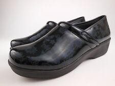SAFE T STEP Black Floral Patent Nursing Clogs Shoes Sz 12