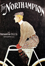 Deco - Northampton USA Bicycle - Cycle - Bike A3 Art Poster Print