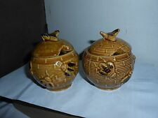 "SET 2 VTG MID CENTURY 3.75"" BEE HIVE SHAPED CERAMIC HONEY JARS W LIDS NO DIPPERS"