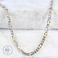 """Sterling Silver - 4mm Gold Accent Figaro Chain 14.6g - Necklace (24"""") Mens"""