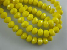 50Pcs Loose Opaque Yellow Crystal Glass Faceted Rondelle Spacer Beads 8mm
