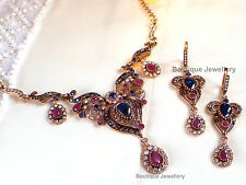 Antique Vintage style Choker Set,Classic Sapphire Ruby Necklace Long Earrings