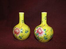 Pair Old or Antique Chinese Porcelain Bud Vases in Yellow