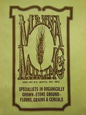 vtg MANNA MILLING CO. organic grown stone-ground FLOUR GRAIN CEREAL Seattle WA