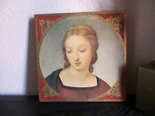 "Old Italy Florentine Wood Gold Gilt Plaque ""Madonna""  Beautiful"