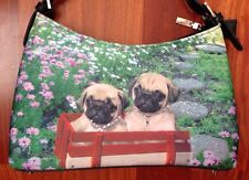 Pug Dog Puppies Bling Purse Shoulder Bag Red Wagon Field Of Flowers EUC