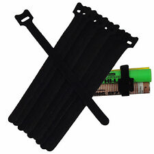 10x Velcro Hook Loop Guitar PC Mic Cable Wire Cord Straps Ties Organizer BLACK