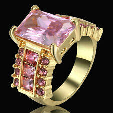 Size 6 Women's Pink Sapphire Big Stone Wedding Ring 10KT Gold Rhodium plated