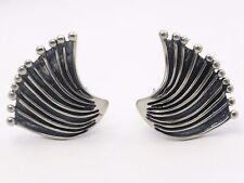 STERLING SILVER  EARRINGS by David Andersen Norway  Unusual Modernist Design