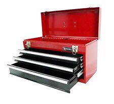 Portable 3 Drawer Steel Tool Box Red. Storage Cabinet Chest Mechanic Organizer