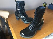 Dr Martens Darcie black leather patent heels UK 7 EU 41 goth punk fetish
