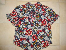 Anthropologie Blue & Red Floral print 100% Rayon ODILLE keyhole Blouse CUTE 4