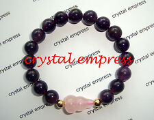 Feng Shui - Amethyst with Rose Quartz Wu Lou Kids Bracelet