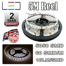 5m 12v Cool White LED Strip Light 5050 300SMD 18LM/SMD 60SMD/m Bright Waterproof