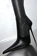 100% MADE IN ITALY NEU DAMEN POINTY STRETCH BOOTS HIGH HEEL G71 LEDER STIEFEL 40