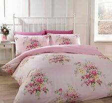kate flannelette duvet quilt cover 100% brushed cotton floral vintage cream pink