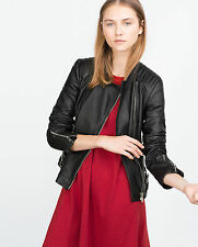 Rare! ZARA REAL LEATHER BIKER JACKET WITH ZIPS ZIPPED COAT BLAZER 3461/005