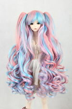 "BJD Doll Hair Wig 7-8""1/4 SD DZ DOD LUTS Multi Color Curly With Two Ponytails"