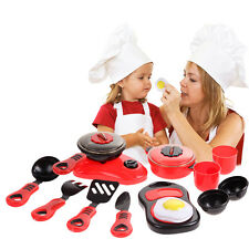 Red 11Pcs Set Kitchen Utensils Pots Cooking Pans Food Dishes Cookware Kids Toy