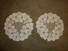 New Ivory lace Christmas design Table Doily's set of 2