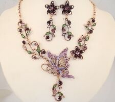necklace set purple green crystal enamel butterfly flower antique copper FIOJ