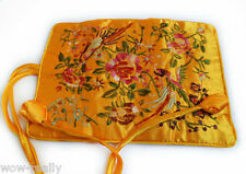 SILK JEWELRY TRAVEL BAG Roll Case Pouch Carrying Silk Yellow Flower Women's Gift