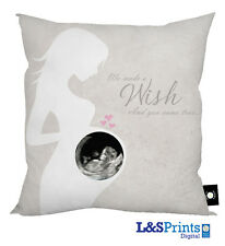 "BABY SCAN PERSONALISED PHOTO CUSHION PERFECT GIFT 18""X18"" NEUTRAL WE MADE A WISH"