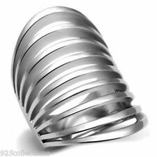 Filigree Index Finger No Stone Wide Band 316 Stainless Steel Lady Ring Size 9