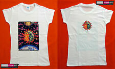 SUN + MOON Womens T-shirt Psychedelic UV Blacklight Glow-in-the-dark Fluorescent