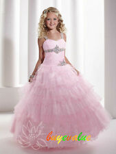 Flower Girl Dresses Wedding Bridesmaids Prom Pageant Party Pink custom colour