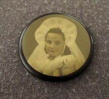 ANTIQUE EARLY 1900 FIRST COMMUNION GIRL PICTURE CELLULOID PURSE BEVELED MIRROR
