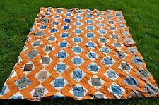 VINTAGE  SQUARE IN A SQUARE QUILT TOP FOR REPAIR REPURPOSE SEE DESCRIPTION