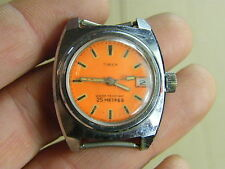 "Vintage TIMEX Orange dial ""Divers"" watch.. spares or repair.."