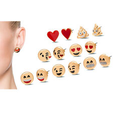 Emoji Stud Earrings - 18K Yellow Gold Plated - 7 Pack