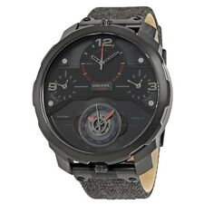 New Diesel Machinus 4 Time Zone Dial Watch Black Denim Strap 55mm Watch DZ7358