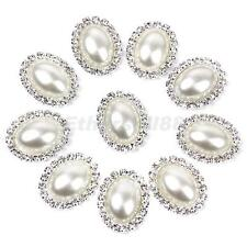 10pcs Crystal Beige Oval Faux Pearl Button Flatback Embellishment 20x25mm