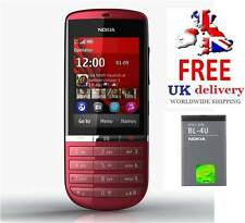 New Condition Nokia Asha 300 Red 5MP Tocuh & Type 3G Unlocked Phone