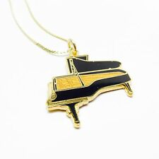 GRAND PIANO Necklace - 24K Gold & Black Steinway NWT - Music Gifts Band