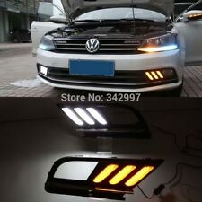 2x LED Daytime Running Fog Light Lamp DRL w Signal For VW Jetta MK7 2015-2016