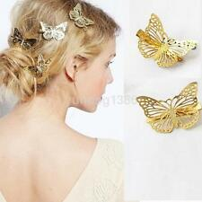 2pcs Butterfly Hair Clip Barrettes Metal Hair Snap Bride Hairpin DIY Hairbow