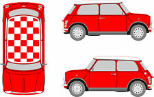 Classic Mini Chequered Check Roof Custom Car Stickers Decal Cooper Vinyl Graphic