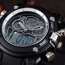 OHSEN Men Military Analog Digital LED Dual Time Sport 3 ATM Quartz Watch Black