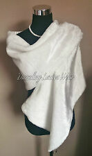 Ivory Faux Fur Shawl -Satin Lining Wrap/Stole/Bolero/Tippet/Jacket/Wrap New