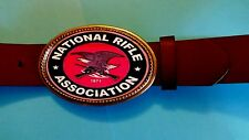 NRA - National Rifle Association  Epoxy Buckl & Brown Bonded Leather Belt -NEW