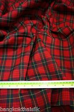 "RED BLACK SQ Plaid Tartan Cotton Woven FABRIC 44""W DRAPE TABLECLOTH DRESS QUILT"