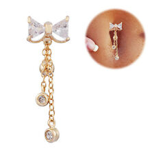 New Reverse Belly Ring Swing Clear Navel Bar Gold Dangle Body Jewelry Piercing
