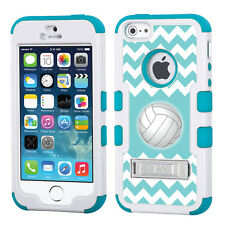 3-Layer Hybrid Case (White/Teal/Stand) for Apple iPhone 5 5s -Chevron/Volleyball